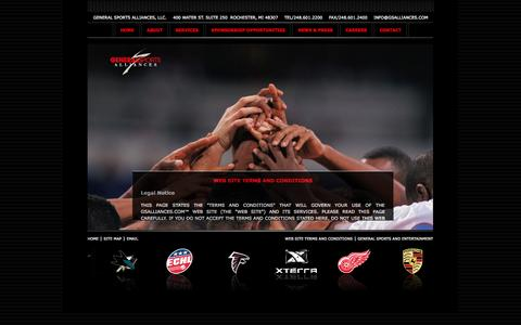 Screenshot of Terms Page generalsportsalliances.com - General Sports Alliances - Naming Rights, Sales Representation, Sales Consulting, Evaluation, Negotiations - captured Sept. 29, 2014