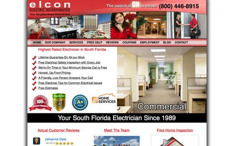 Screenshot of Home Page Site Map Page elconelectric.com - South Florida Electrician, Elcon Electric, Electrician for South FL - Elcon Electric - captured Oct. 2, 2014