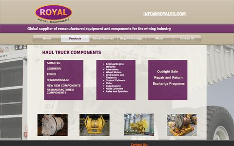 Screenshot of Products Page royaleq.com - Royal Equipment Mining Equipment and Components - captured Oct. 23, 2017