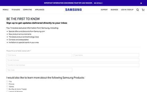 Screenshot of Signup Page samsung.com - Samsung - captured April 19, 2017