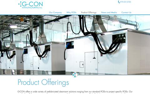 Screenshot of Products Page gconbio.com - G-CON Manufacturing Inc. | Products - captured July 7, 2017