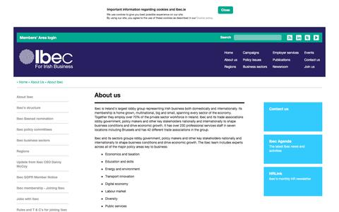 Screenshot of About Page ibec.ie - About Ibec   Ibec - For Irish business - captured Sept. 10, 2018