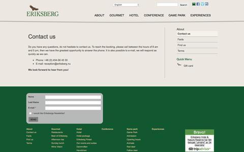 Screenshot of Contact Page eriksberg.nu - Contact us | Eriksberg Vilt & Natur AB - captured Nov. 8, 2016