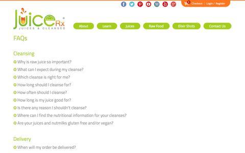 Screenshot of FAQ Page juicerxcleanse.com - FAQs - JuiceRX - Organic Fresh-pressed Juices & Cleanses - captured Nov. 3, 2014