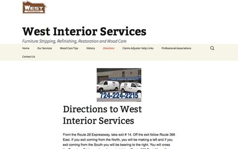 Screenshot of Maps & Directions Page westinteriorservices.com - Directions to West Interior Services | West Interior Services - captured Oct. 26, 2014
