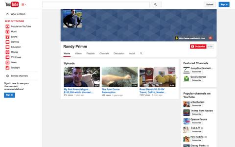 Screenshot of YouTube Page youtube.com - Randy Primm  - YouTube - captured Oct. 26, 2014