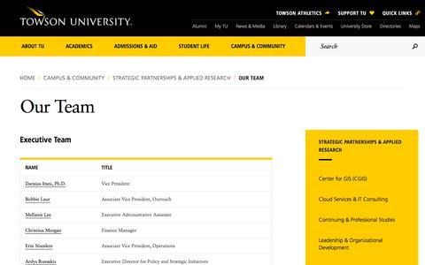 Screenshot of Team Page towson.edu - Our Team | Towson University - captured Sept. 24, 2018