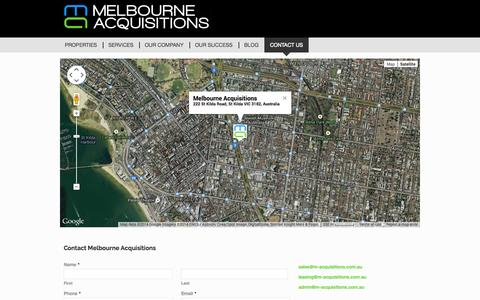 Screenshot of Contact Page melbourneacquisitions.com.au - Contact us - Melbourne Acquisitions - captured Sept. 30, 2014