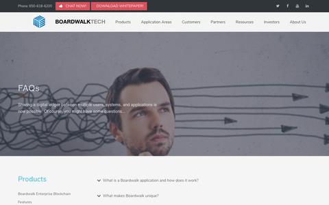 Screenshot of FAQ Page boardwalktech.com - Boardwalktech | Products FAQ - captured July 13, 2018