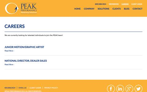 Screenshot of Jobs Page gotopeak.com - Careers - Peak Performance - captured Oct. 2, 2014