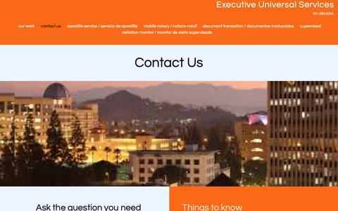Screenshot of Contact Page executiveuniversalservices.com - Contact Us | Executive Universal Services - captured Dec. 8, 2018