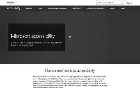 Screenshot of microsoft.com - Accessibility for Software and Devices   Microsoft - captured Sept. 16, 2017