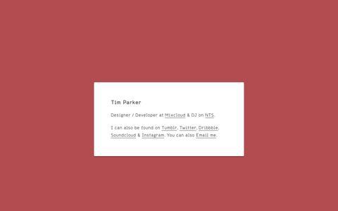 Screenshot of Home Page tprkr.net - Tim Parker - captured Oct. 7, 2014