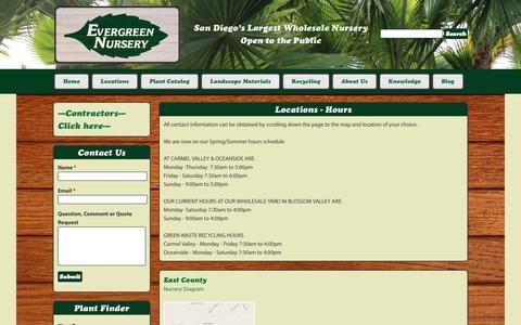 Screenshot of Locations Page evergreennursery.com - | Evergreen Nursery - captured Sept. 30, 2014