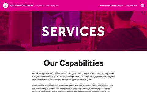 Screenshot of Services Page bigroomstudios.com - Services Ľ Big Room Studios - captured Jan. 3, 2016