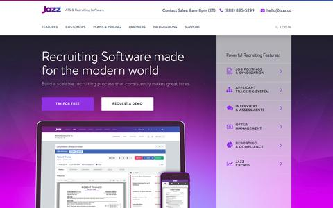 Screenshot of Home Page jazz.co - Jazz HR software for SMBs | Easy. Powerful. Affordable. - captured June 22, 2016