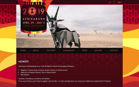 Screenshot of Login Page afrikaburn.com - Home | AfrikaBurn Tribe - captured July 29, 2018