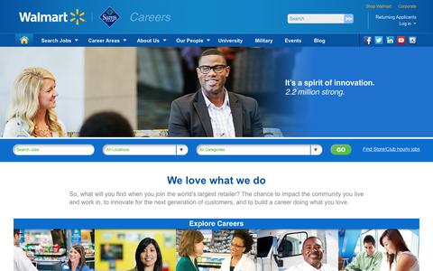 Screenshot of Jobs Page walmart.com - Welcome to Walmart Careers - captured Oct. 22, 2015