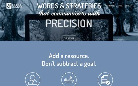 Screenshot of Home Page deuelcommunications.com - Deuel Communications | Words & strategies that communicate with power, precision and purpose - captured June 4, 2017