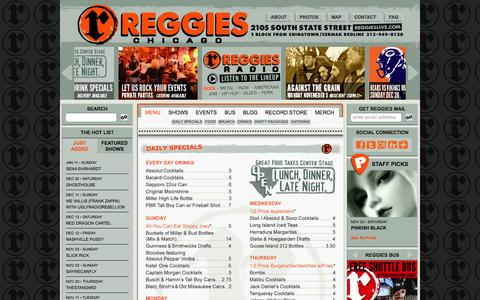 Screenshot of Menu Page reggieslive.com - Menu | Reggies Chicago - captured Oct. 30, 2014