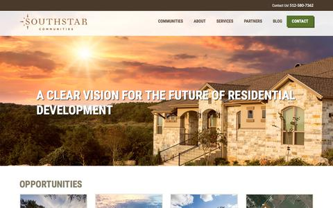 Screenshot of Home Page southstarcommunities.com - Master Planned, Residential Developments | SouthStar Communities - captured Jan. 20, 2018
