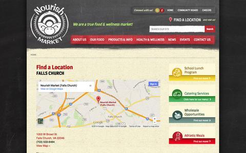 Screenshot of Locations Page nourishmarket.com - Find a Location | Nourish Market - captured Oct. 26, 2014