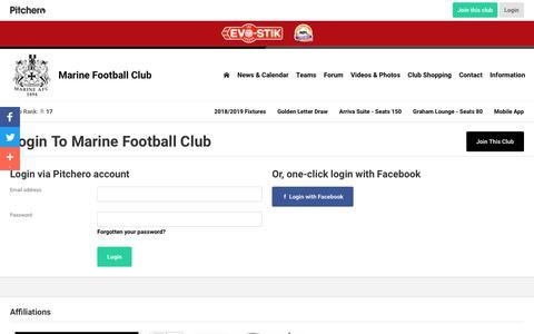 Screenshot of Login Page pitchero.com - Marine Football Club - captured Oct. 2, 2018