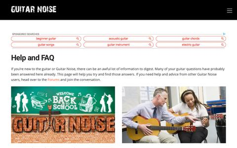 Screenshot of FAQ Page guitarnoise.com - Guitar Help and Frequently Asked Questions - captured Sept. 4, 2019