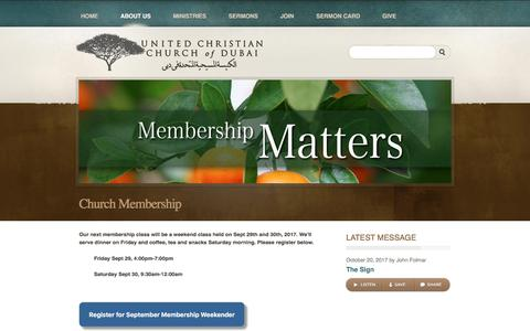 Screenshot of Signup Page uccdubai.com - The United Christian Church of Dubai > Church Membership - captured Oct. 24, 2017
