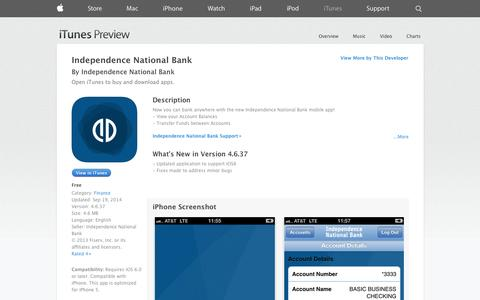 Screenshot of iOS App Page apple.com - Independence National Bank on the App Store on iTunes - captured Oct. 23, 2014