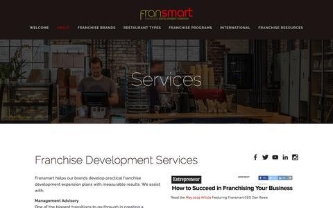 Screenshot of Services Page fransmart.com - Services — Fransmart - captured Jan. 8, 2016