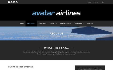 Screenshot of About Page avatarairlines.com - Avatar Airlines  About Us - Avatar Airlines - captured Nov. 2, 2014