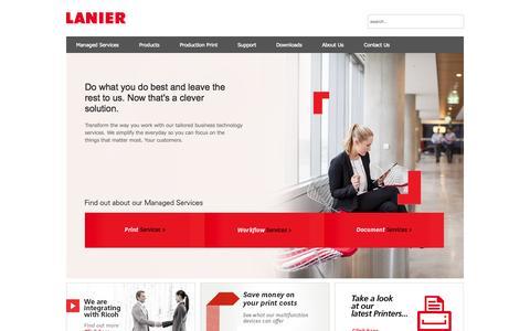 Screenshot of Home Page lanier.com.au - IT Services   Workflow   Printers   Photocopiers : Lanier Australia  - Home - captured Oct. 2, 2014