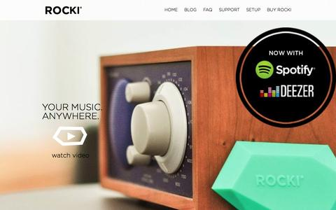 Screenshot of Home Page myrocki.com - Rocki + Spotify: Your Music EverywhereROCKI | The easiest way to get Spotify on your Speakers with Spotify Connect - captured Nov. 3, 2015