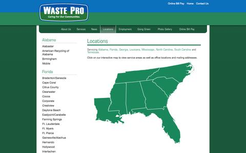 Screenshot of Contact Page Locations Page wasteprousa.com - Waste Pro > Locations - captured Oct. 25, 2014