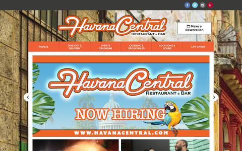 Screenshot of Home Page havanacentral.com - Home - Havana Central Restaurant and Bar - captured Jan. 26, 2016