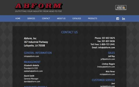 Screenshot of Contact Page abform.com - Contact Abform for Uniform/Workwear Services - captured Dec. 22, 2015