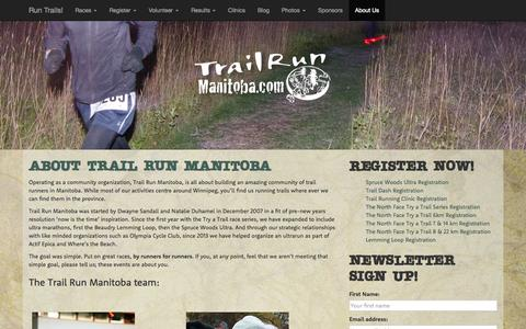 Screenshot of About Page trailrunmanitoba.com - Trail Run Manitoba :: About Trail Run Manitoba - captured Aug. 4, 2015