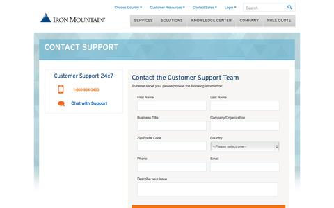 Screenshot of Support Page ironmountain.com - Support Contact Form - captured Nov. 3, 2015