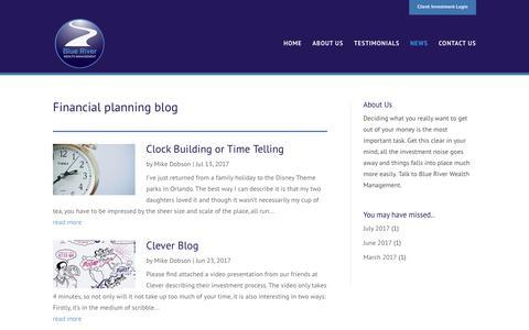 Screenshot of Blog Press Page blueriverwealth.com - Financial Planning Blog - Blue River Wealth Management - captured Oct. 10, 2017