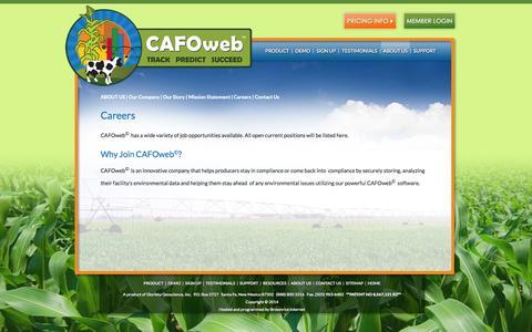 Screenshot of Jobs Page cafoweb.com - Careers | Nutrient Application Forecasting & Compliance Management Software for Dairies & CAFOs | CAFOweb© - captured Sept. 26, 2014