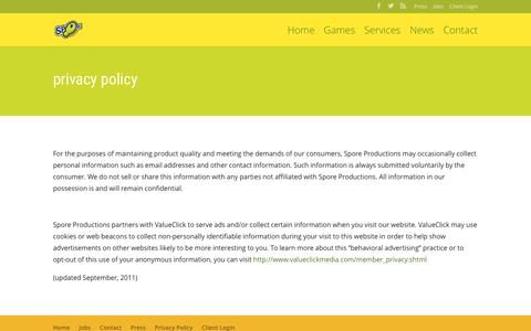 Screenshot of Privacy Page sporeproductions.com - Privacy Policy   SPORE Productions - captured Dec. 19, 2015