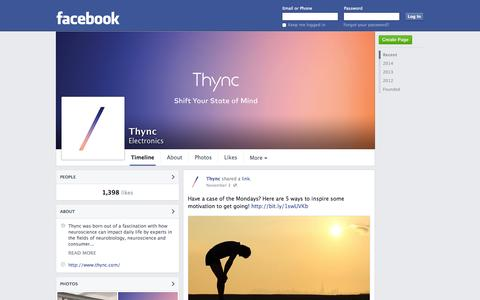 Screenshot of Facebook Page facebook.com - Thync | Facebook - captured Nov. 5, 2014
