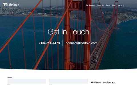 Screenshot of Contact Page lifedojo.com - Contact Us | LifeDojo - captured Oct. 12, 2019
