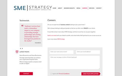 Screenshot of Jobs Page smestrategy.net - Careers in management consulting firm Vancouver | Business strategy management consulting and strategic planning facilitator - captured Oct. 3, 2014