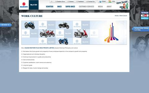 Screenshot of Jobs Page suzukimotorcycle.co.in - Work Culture | Suzuki Motorcycle India  Private Limited - captured Sept. 19, 2014