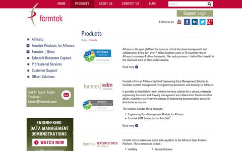 Screenshot of Products Page formtek.com - Intelligent Products for Enterprise Content Management | formtek - captured July 13, 2018