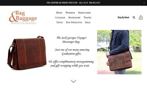 Screenshot of Home Page bag-baggage.com - Bag & Baggage | Fine Bags & Luggage | Monogramming | Repairs - captured July 9, 2018