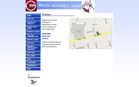 Screenshot of Maps & Directions Page mosesinsurance.com - Directions to Moses Insurance Group - captured Oct. 26, 2014