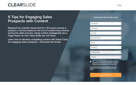 Screenshot of Landing Page clearslide.com - 5 Tips for Engaging Sales Prospects with Content - captured Sept. 21, 2018